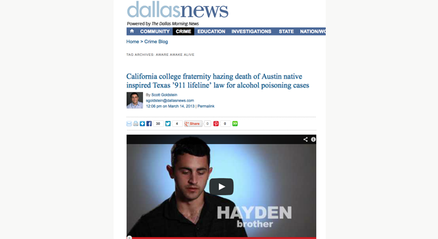 Aware Awake Alive Dallas Morning News