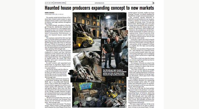 Austin Business Journal clipping house of torment