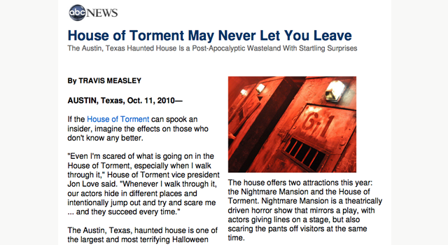 house of torment clipping on ABC News