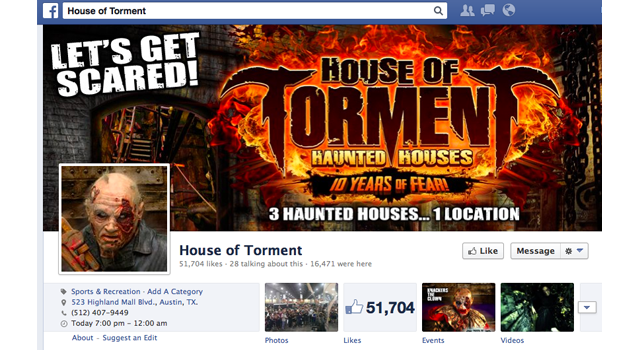 house of torment facebook home page