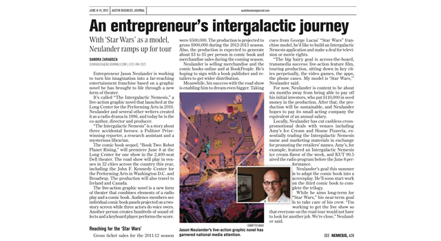 Austin Buisness Journal clipping of the intergalactic nemesis