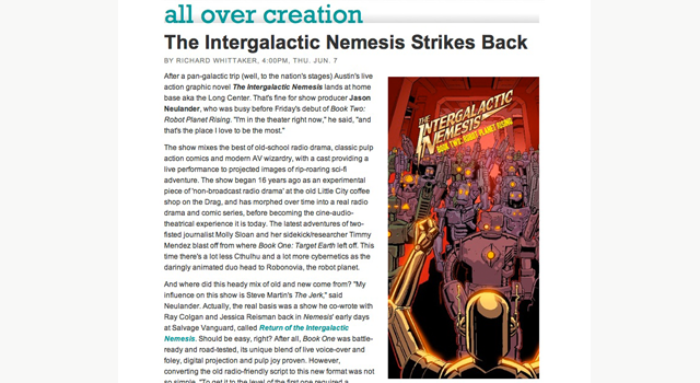Austin Chronicle clipping of the intergalactic nemesis