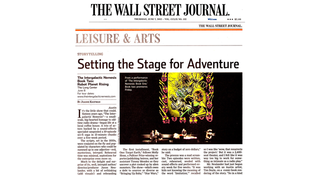 The Wall Street Journal clipping of the intergalactic nemesis